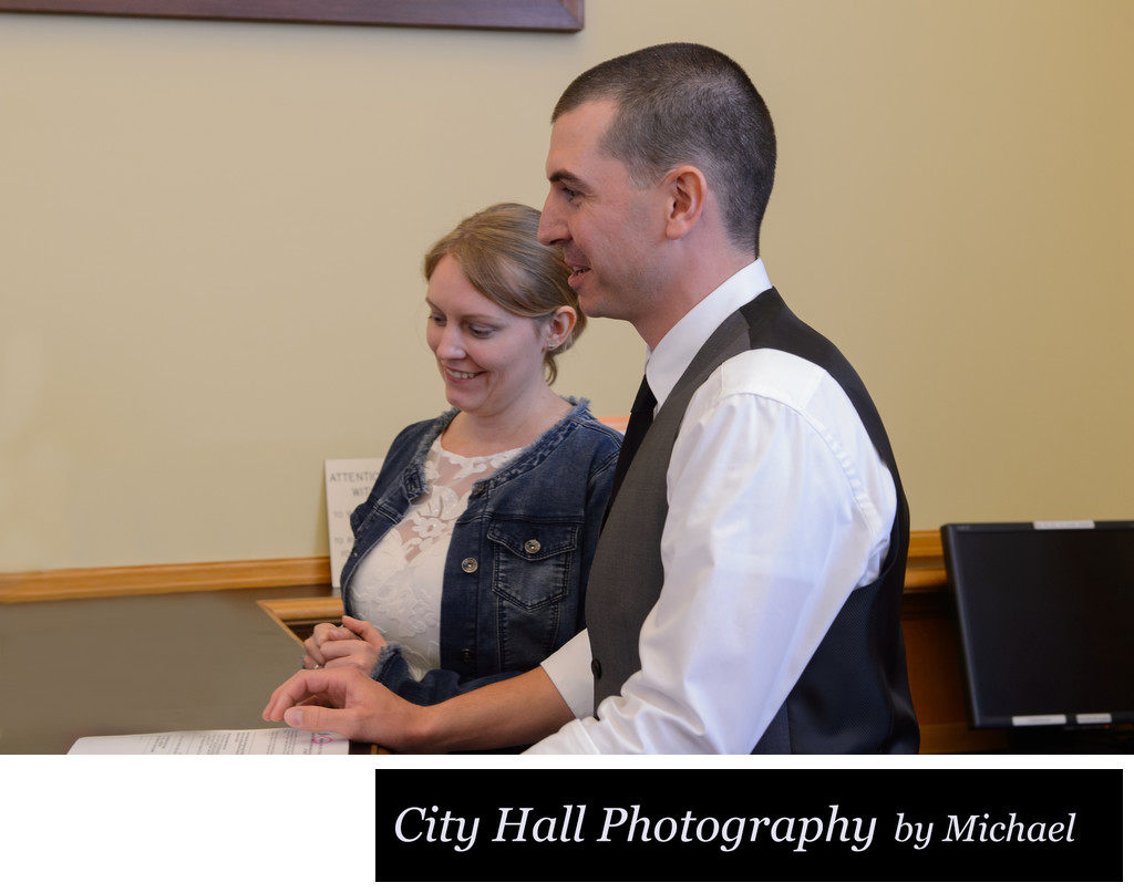 Checking in at the County Clerk for a wedding ceremony