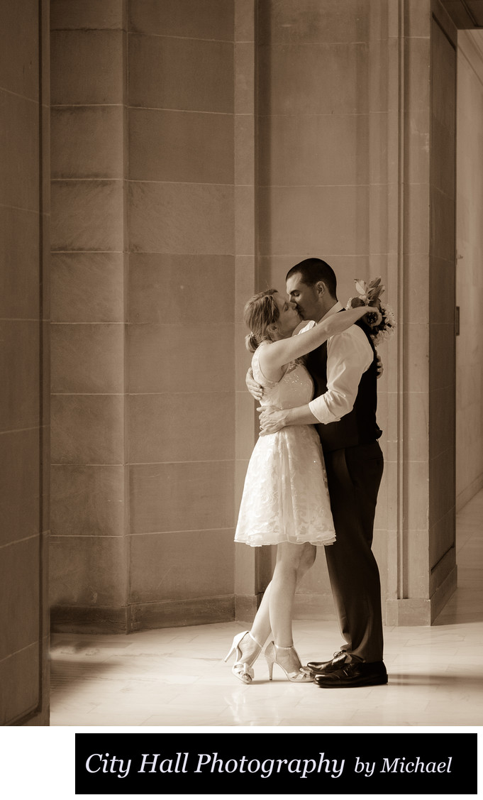 Best San Francisco wedding kiss in Sepia Tone Image