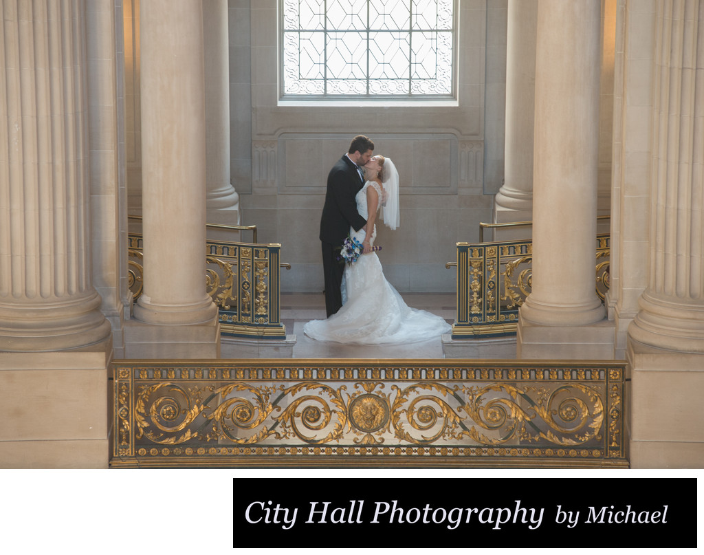 San Francisco City Hall Wedding Photographer - Bride and Groom Kiss