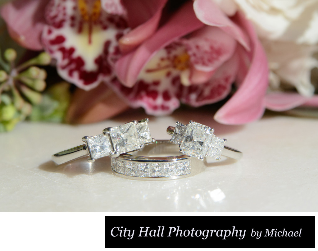 LGBT dual rings showing close up wedding photography