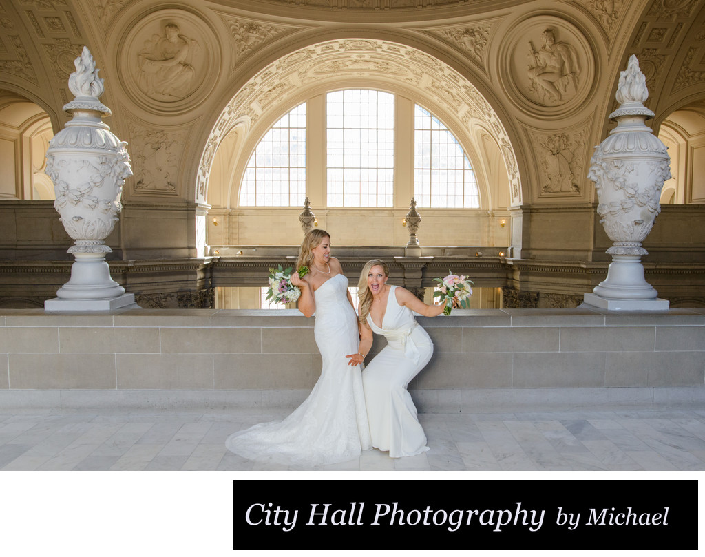 Lesbian brides San Francisco City Hall having fun
