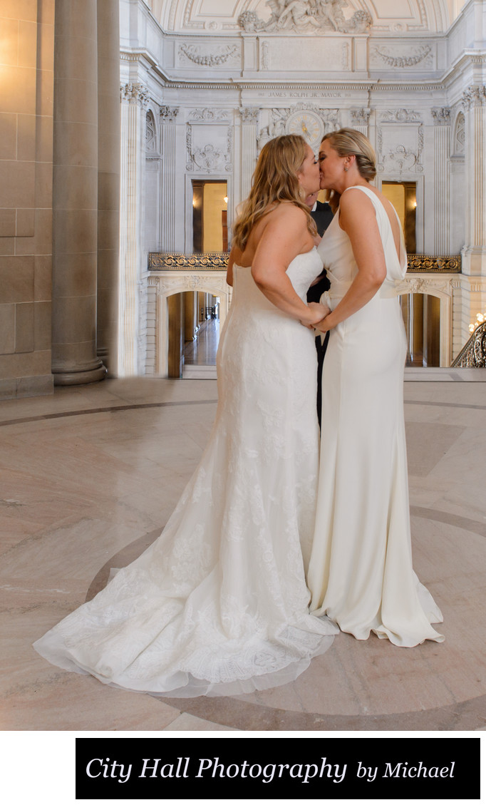 Wedding Girls First Kiss at SF City Hall Ceremony