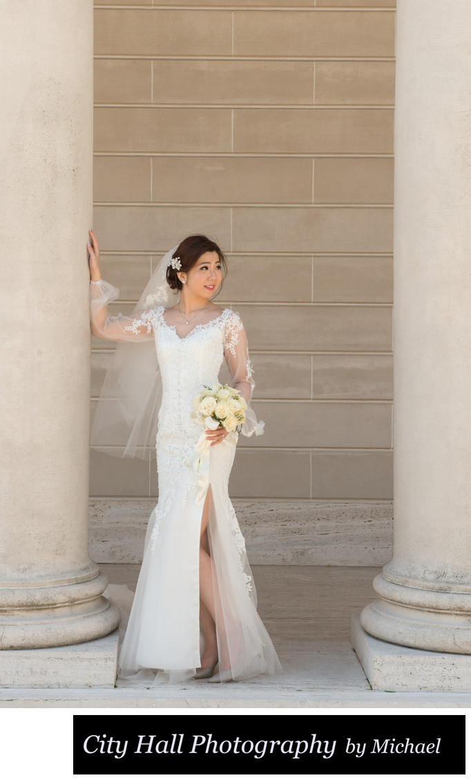 Candid moment with bride at the Legion of Honor