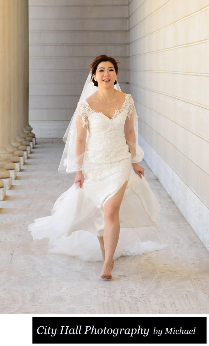 Asian Bride running  at the Legion of Honor in San Francisco