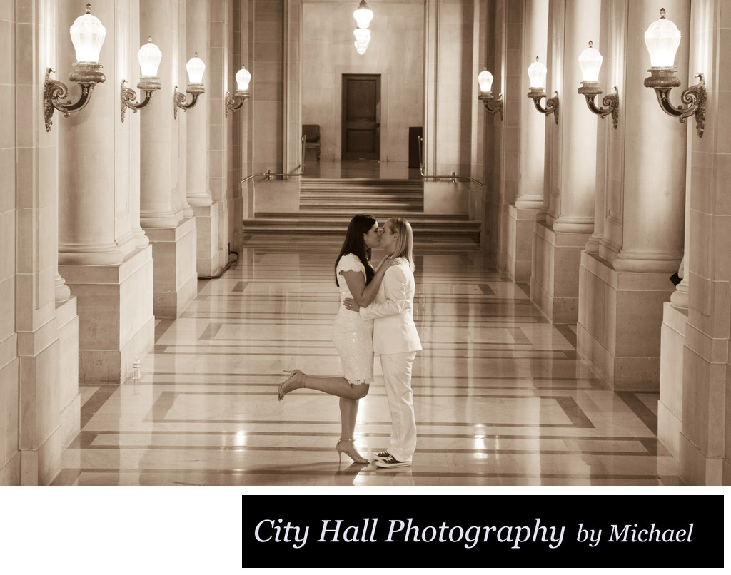 Brides wedding - LGBT Wedding Photography at City Hall