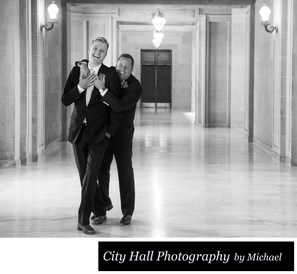 Same sex fun wedding photography in black and white