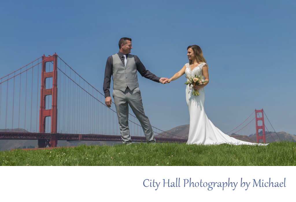 Groom Leading Bride in San Francisco at Crissy FIeld