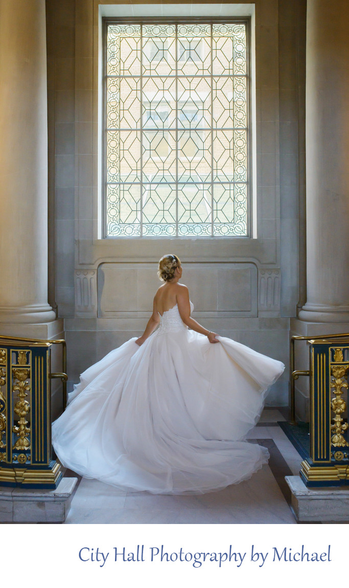 San Francisco City Hall Wedding Photography - Twirling Bride