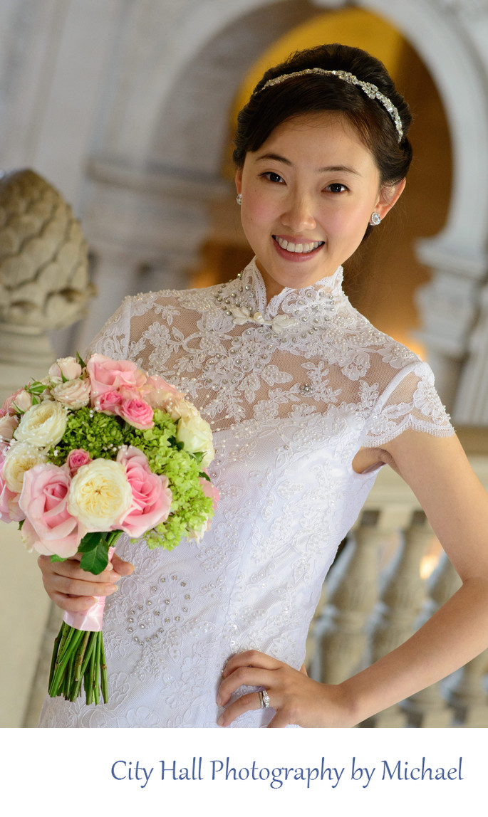 Wedding Photographer San Francisco City Hall - Asian Bride Bouquet