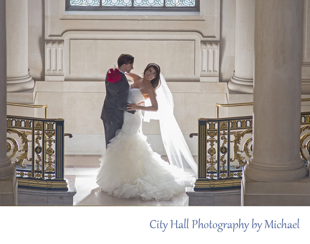 Backlit Wedding Image City Hall in San Francisco