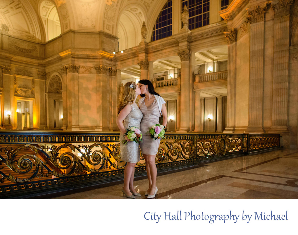 Brides kissing San Francisco City Hall LGBT Wedding