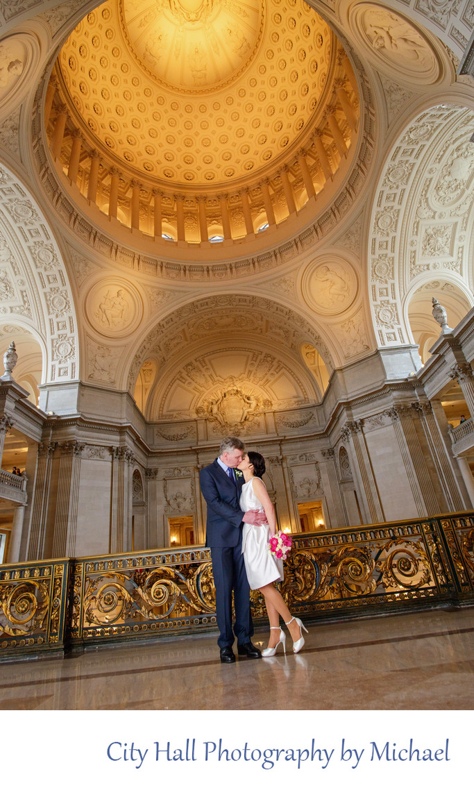 Wedding Photographer San Francisco City Hall - Dome Kiss