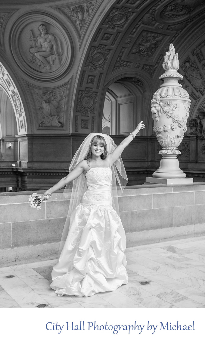 Wedding Photographer San Francisco City Hall - Fun Bride