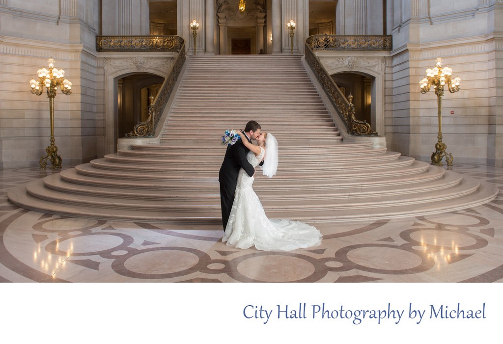 Grand Staircase Dip Wedding Photography