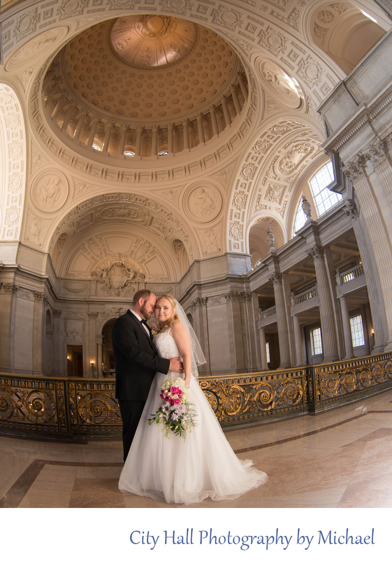 Romantic City Hall Wedding Photography with a Fish-eye Lens