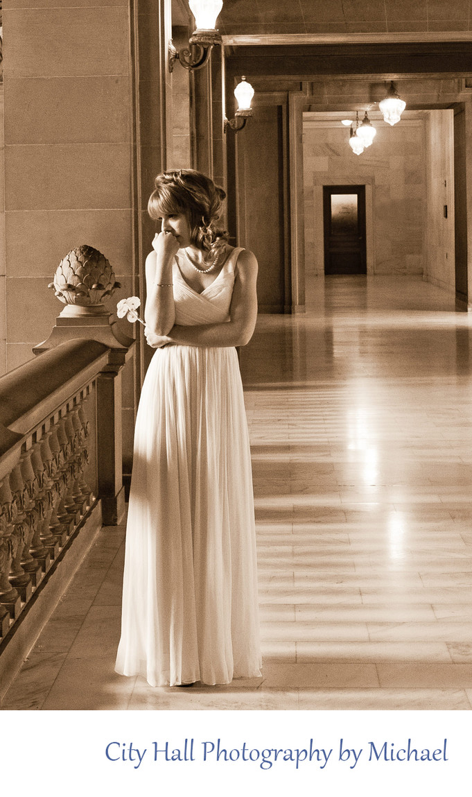 Wedding Photographer San Francisco City Hall - Thoughtful Bride