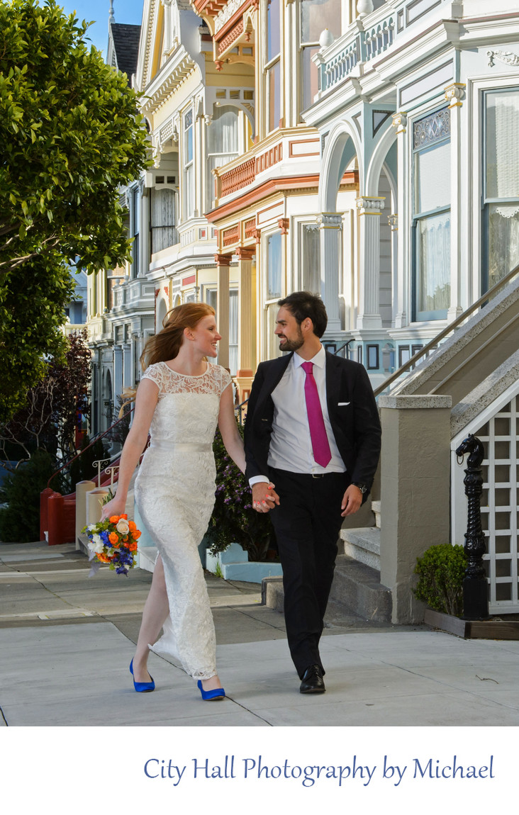 Photojournalist Wedding Photos Walking Painted Ladies