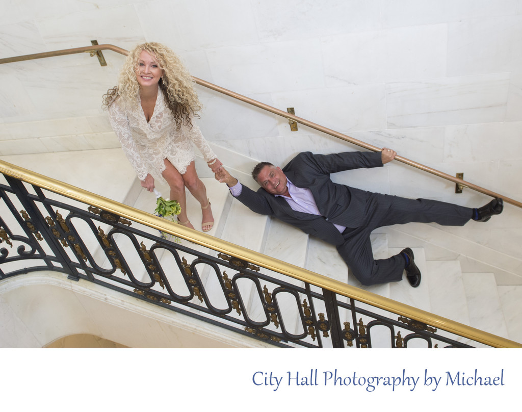 Fun San Francisco City Hall wedding images on the stairs