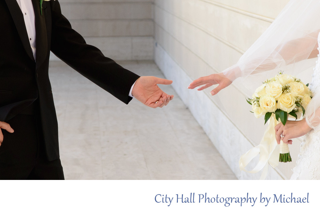 Wedding Photographer San Francisco City Hall - Touching Hands.