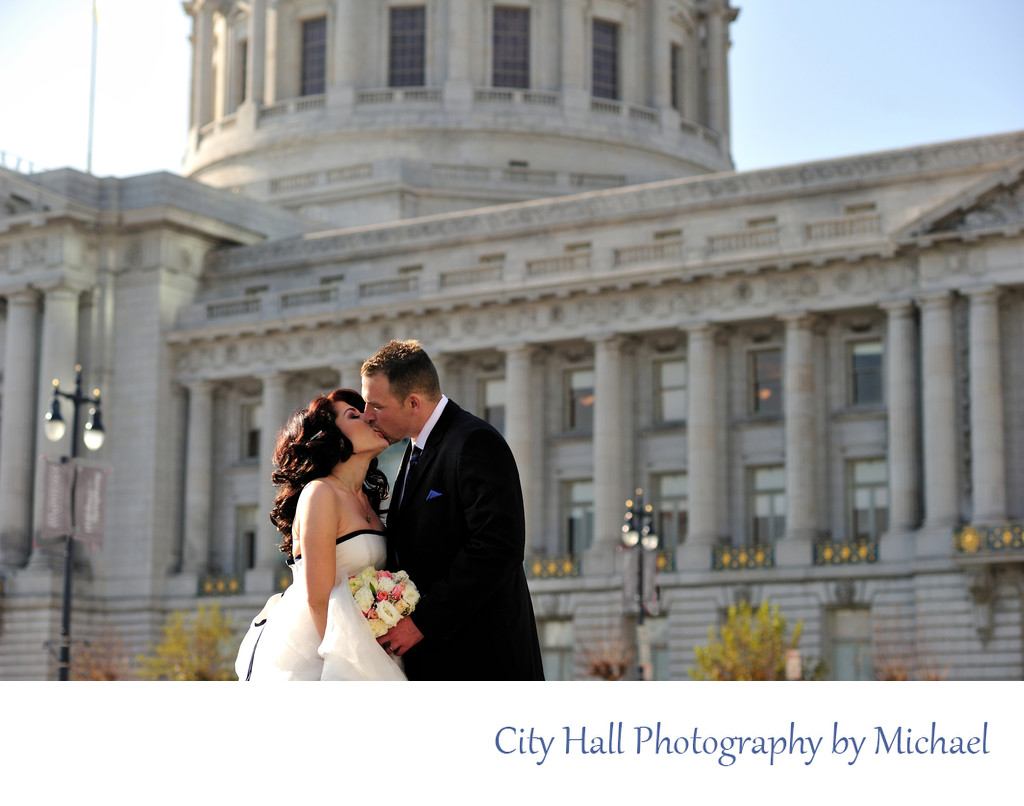 San Francisco City Hall Wedding Photographer - Outside Kiss