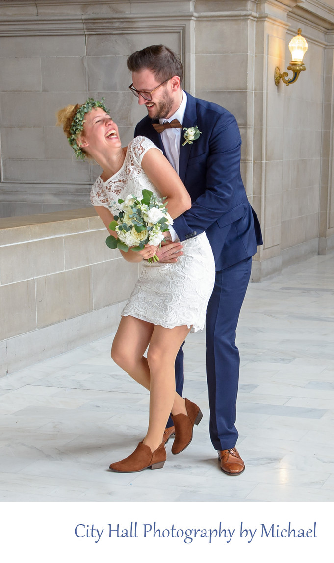 Fun and Candid City Hall Wedding Photography on the 4th floor North Gallery