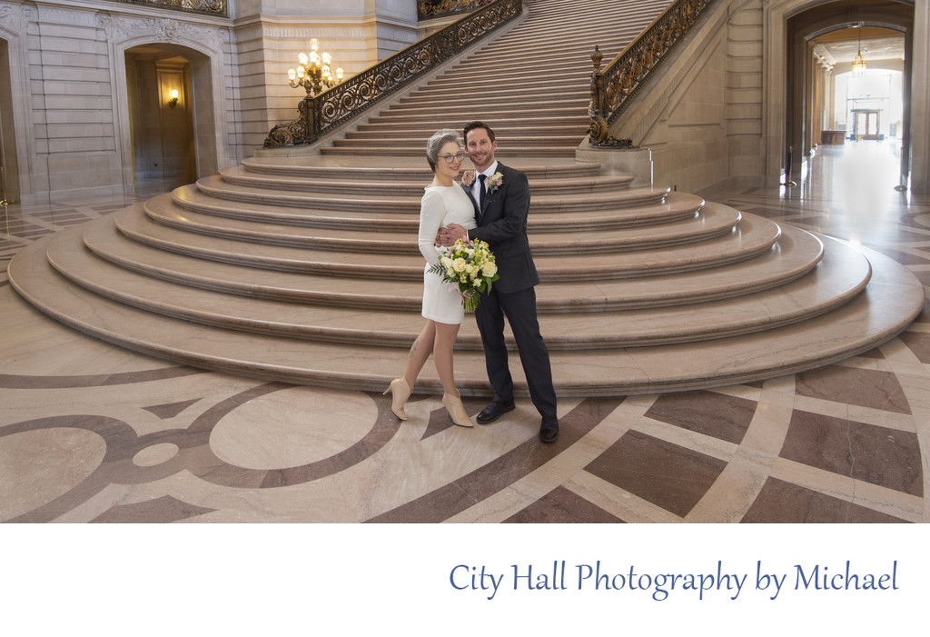 Newlyweds Happy at SF City Hall - Wedding Photographer