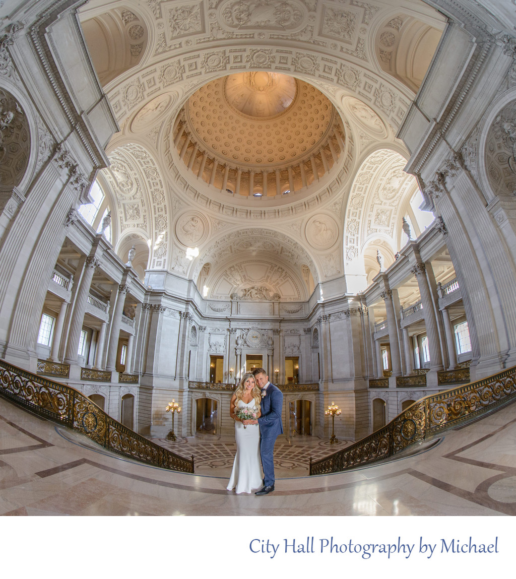 Wedding Photography in San Francisco - City Hall Wide Angle View