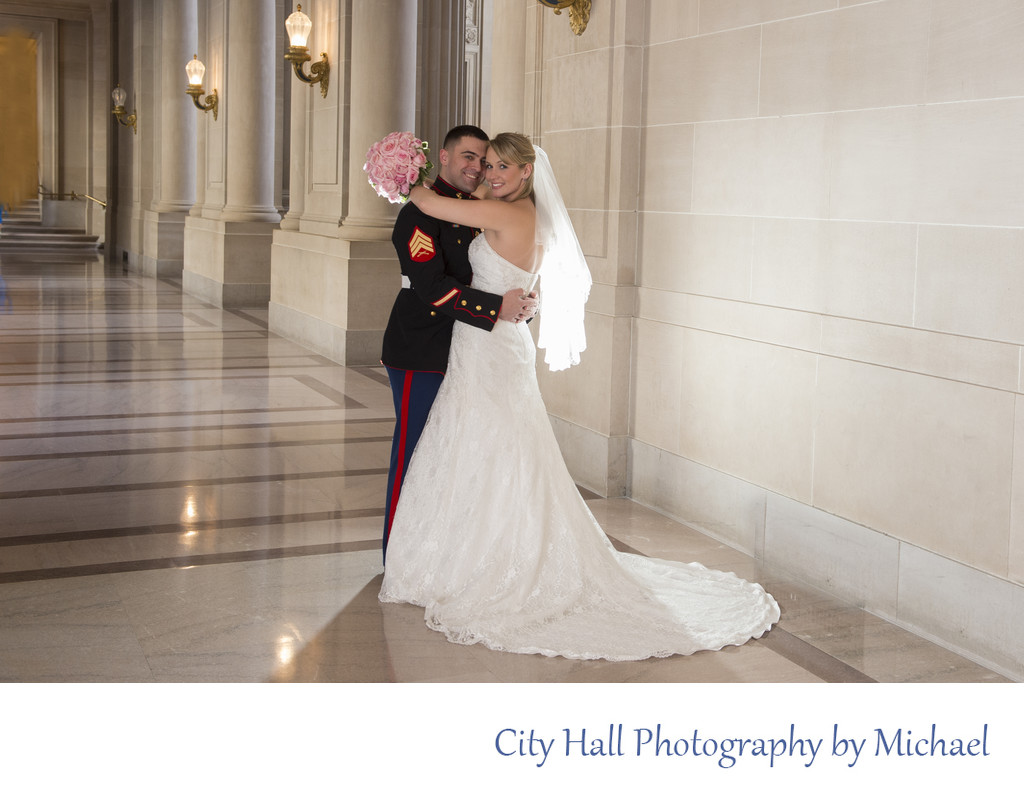 Back Lighting for this City Hall Wedding Photography image on the 2nd floor