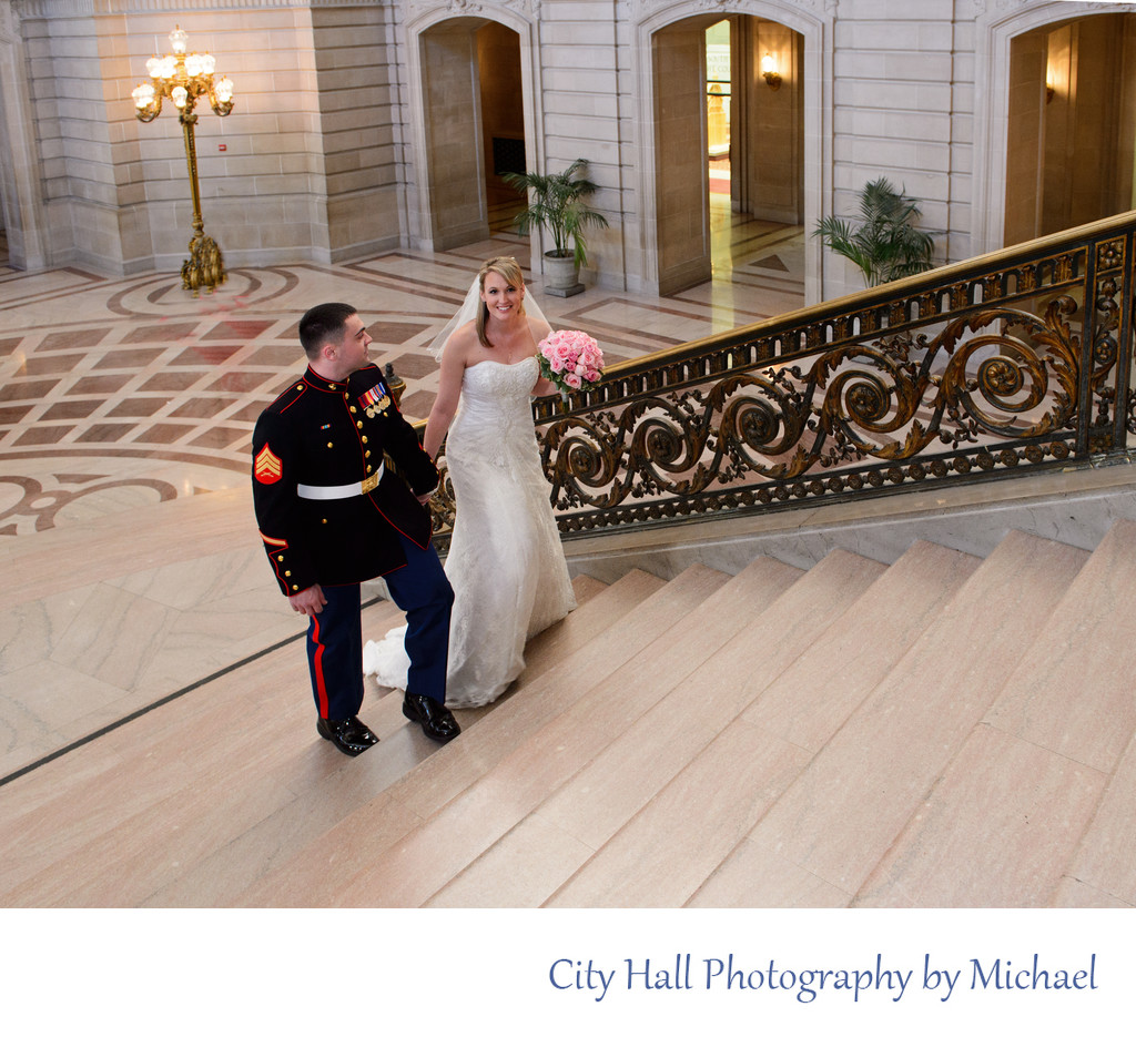 Bride and Groom Making the Long Walk up The Grand Staircase