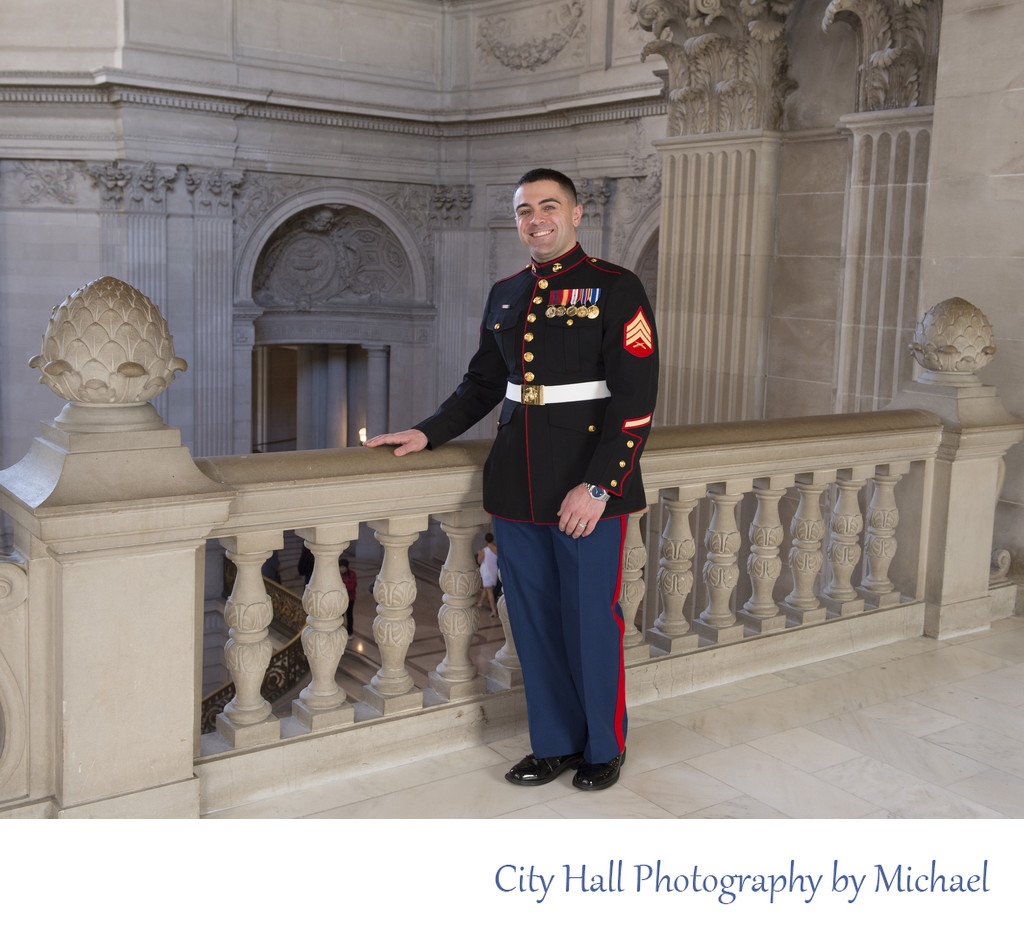 Marine Sergeant Posing for Wedding Pictures in San Francisco