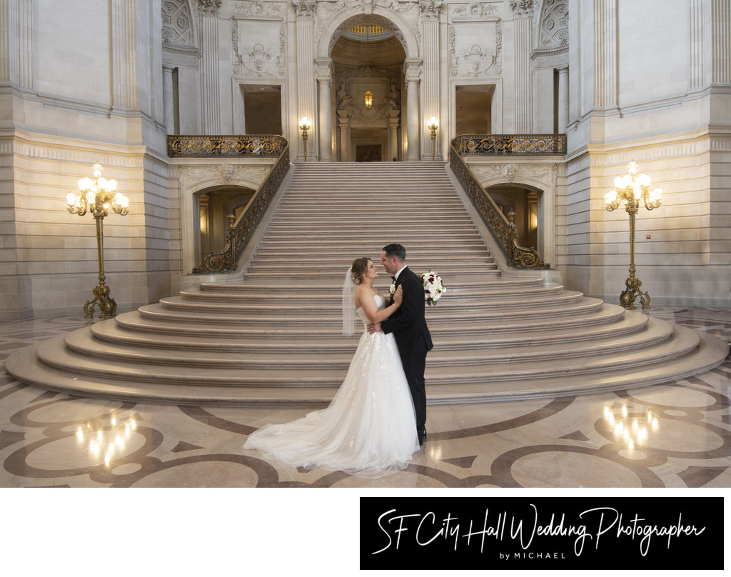San Francisco City Hall Grand Staircase Wedding Photography Image