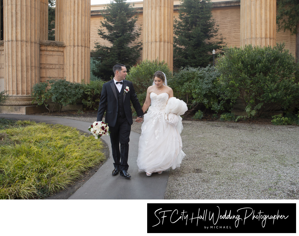 Bride and Groom Walking at San Francisco Palace of Fine Arts