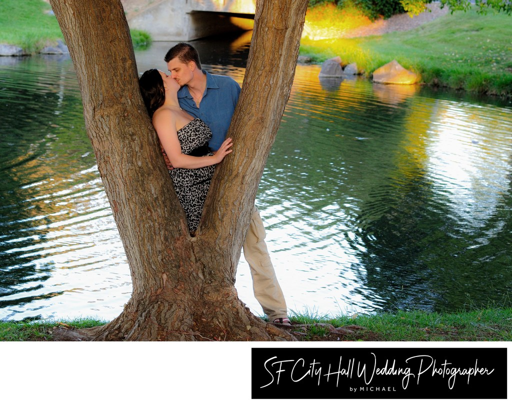 Beautiful Reflection for this Engagement Session - City Hall Wedding