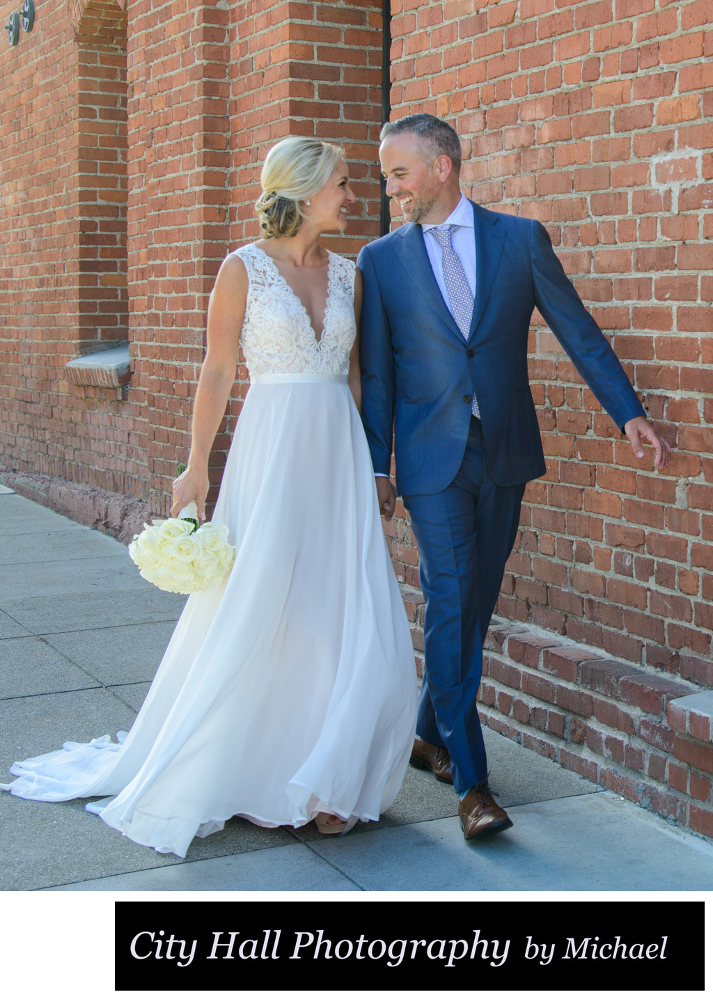 San Francisco City Hall Wedding Photographer - Walk by the Bricks