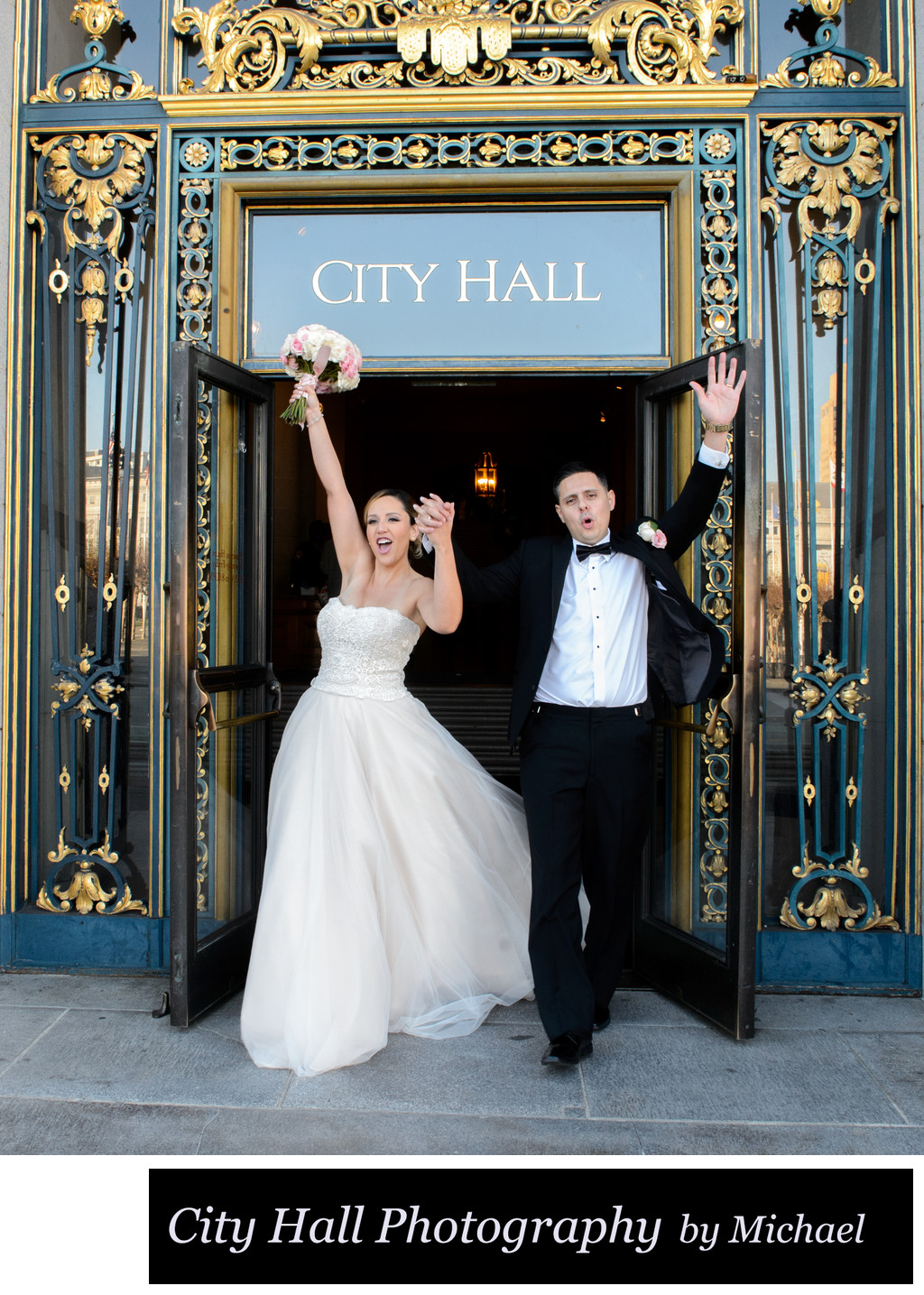 Happy couple celebrate at San Francisco City Hall