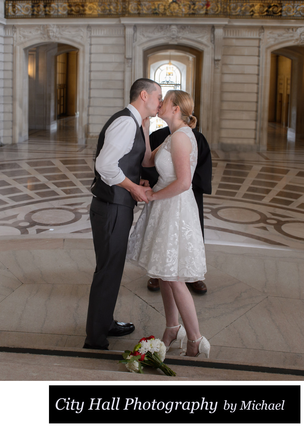 Wedding Photographer San Francisco City Hall - First Kiss