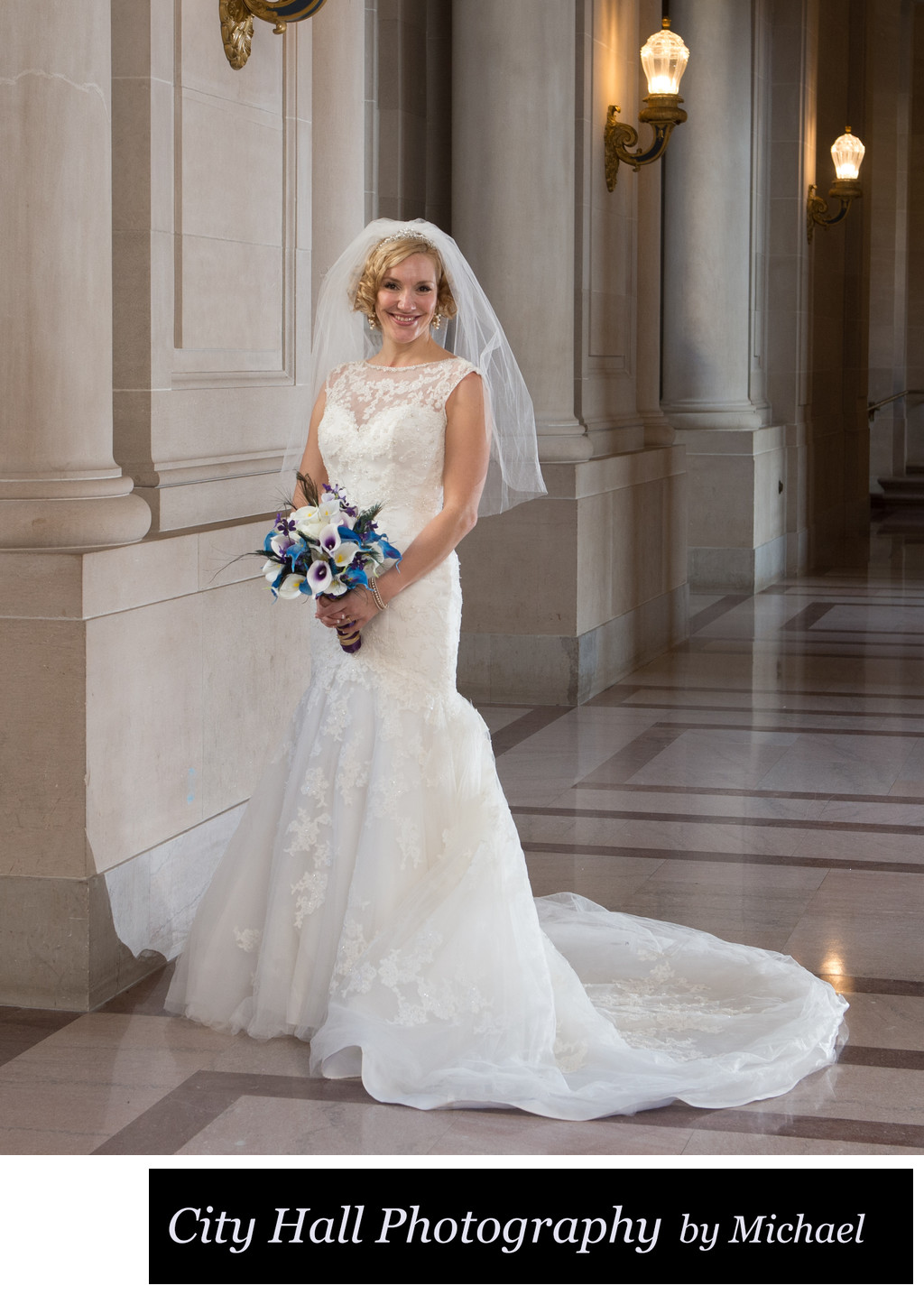 Pretty bride with veil and flowers on the second floor Rotunda