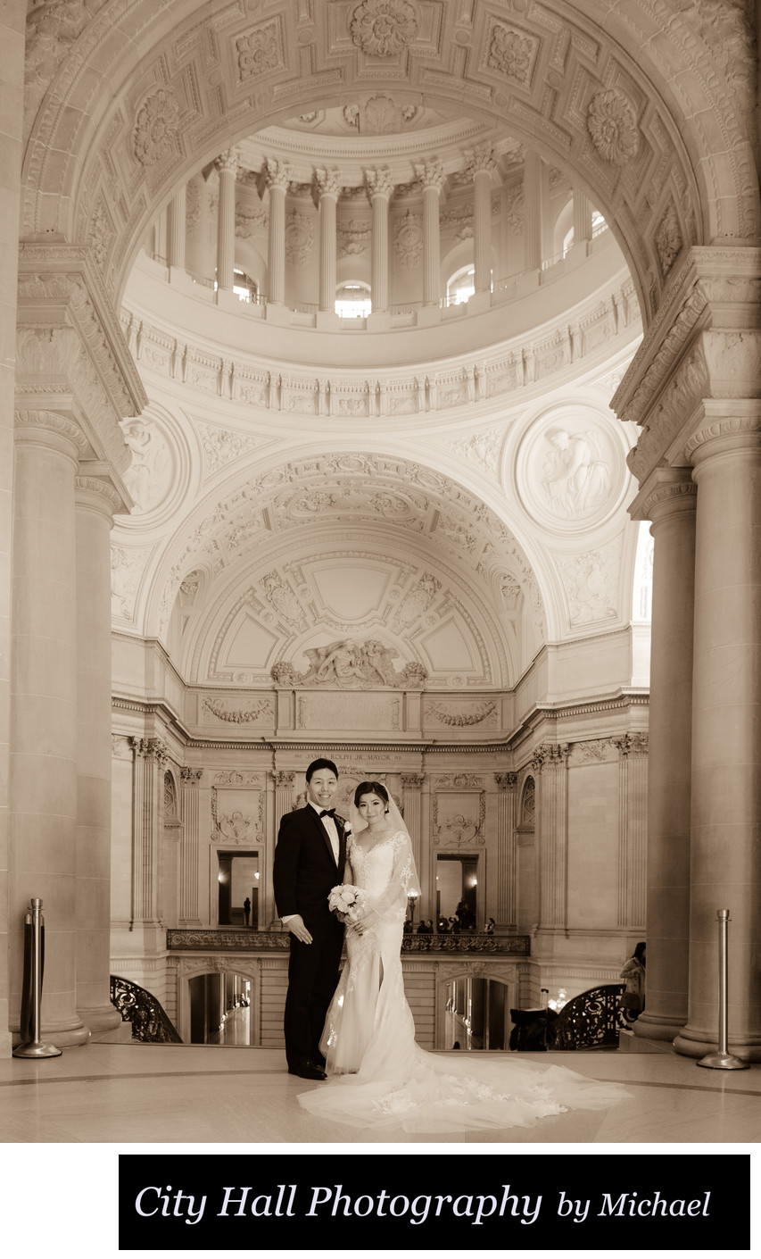 Asian wedding at San Francisco City Hall in Sepia