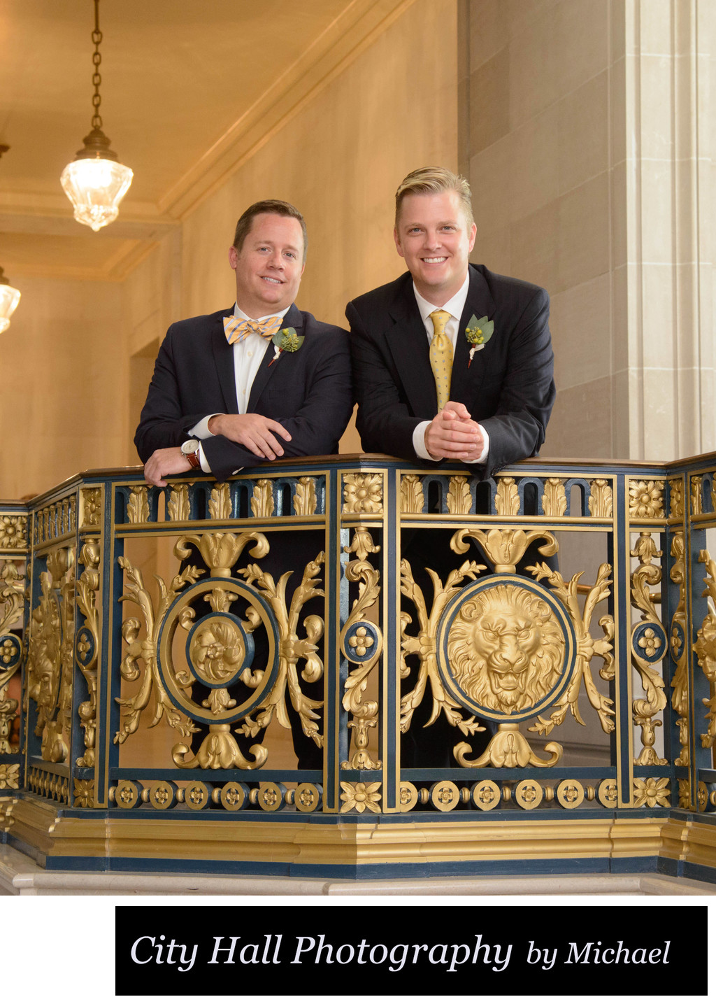 Gay City Hall Nuptials with Golden Railing in San Francisco