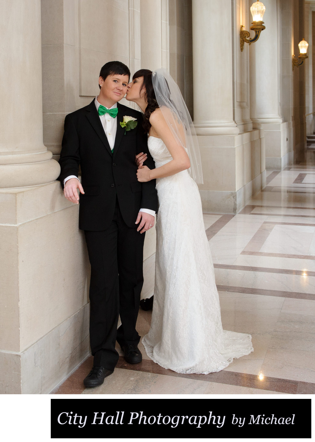 Kiss on cheek San Francisco at a LGBT Wedding