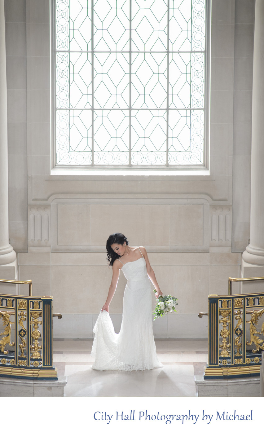 Wedding Photographer City Hall - Bride Window Light