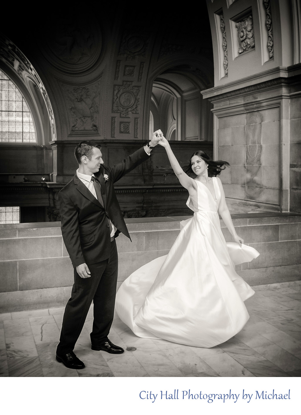 Wedding Photography Dance Twirl at San Francisco City Hall