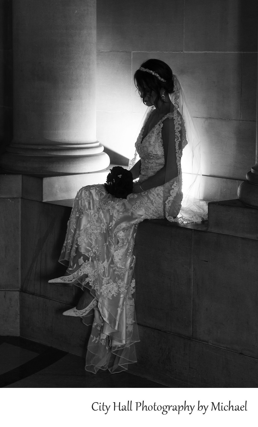 Wedding Photographer San Francisco City Hall - Back Light Bride