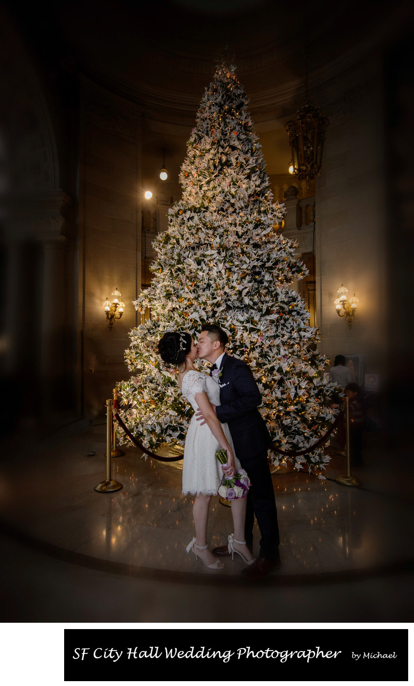 City Hall Wedding Photography Christmas Tree Kiss