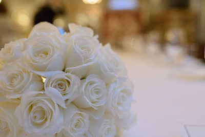 White roses at Wedding Reception using close-up lens