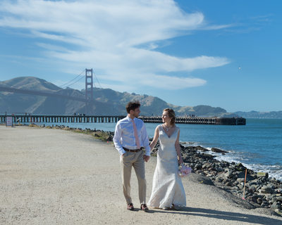 Wedding Photography walking at Crissy Field