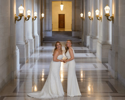 LGBT Brides in the hallway wedding photography image