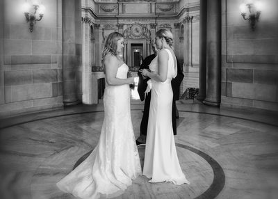 LGBT wedding ring exchange at San Francisco City Hall
