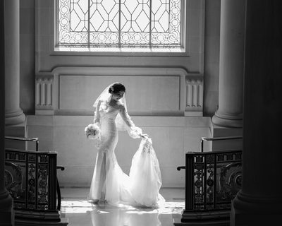 City Hall wedding dress in beautiful window light