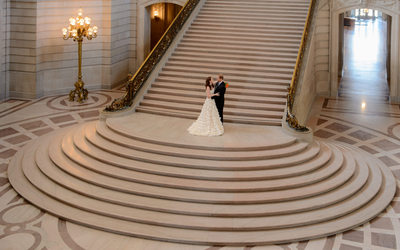 Nuptials on Grand Staircase at San Francisco City Hall